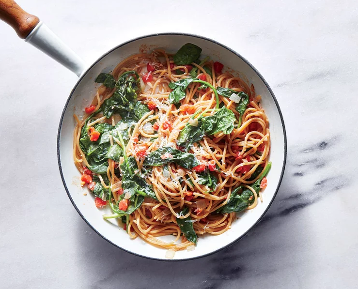 From myrecipes.com : One-Pot Pasta with Spinach and Tomatoes