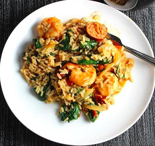 From CookingChatFood.com: Turkey Sausage & Shrimp Jambalaya