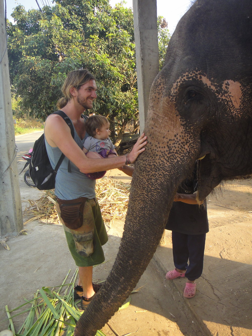 Baby Astraea meets her first elephant named Boon Ma