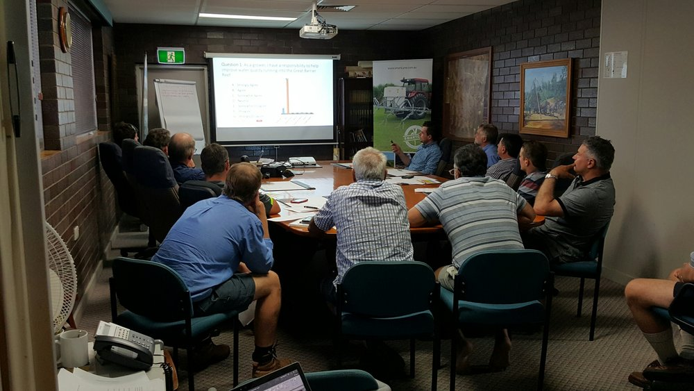 Growers taking part in a data collection workshop about their farming practices.
