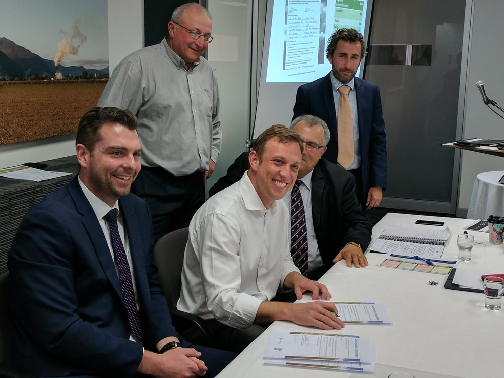 Minister for the Great Barrier Reef, Minister Miles, signs his own Cane Changer Commitment.