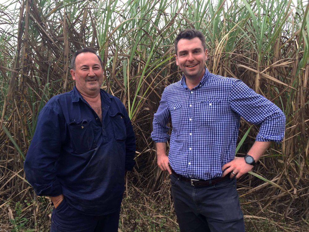 CANEGROWERS Cairns Region Chairman, Stephen Calcagno, with Dr John Pickering of Project Cane Changer