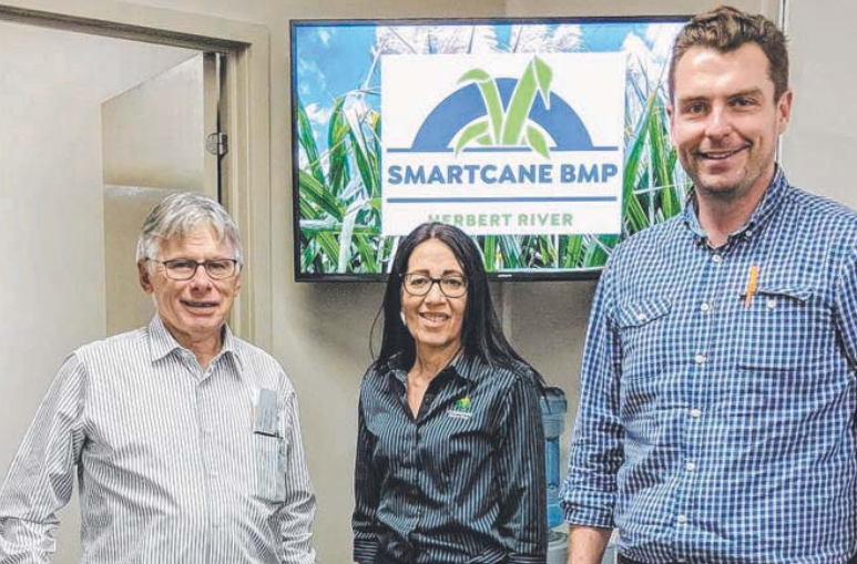CANEGROWERS Herbert River Manager Peter Sheedy (left) with Smartcane BMP Herbert Facilitator Maria Battoraro and Cane Changer Project Leader, John Pickering.