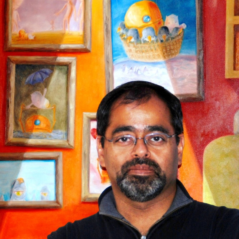 Vikram Madan  grew up in India and became an engineer until finally coming to his senses and embracing the arts. Now he paints, makes public art, and writes funny poems. See  www.VikramMadan.com .