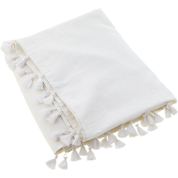 Linen White Throw With Tassels