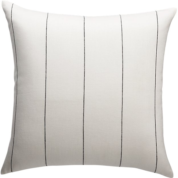 "20"" Pinstripe White Linen Pillow"