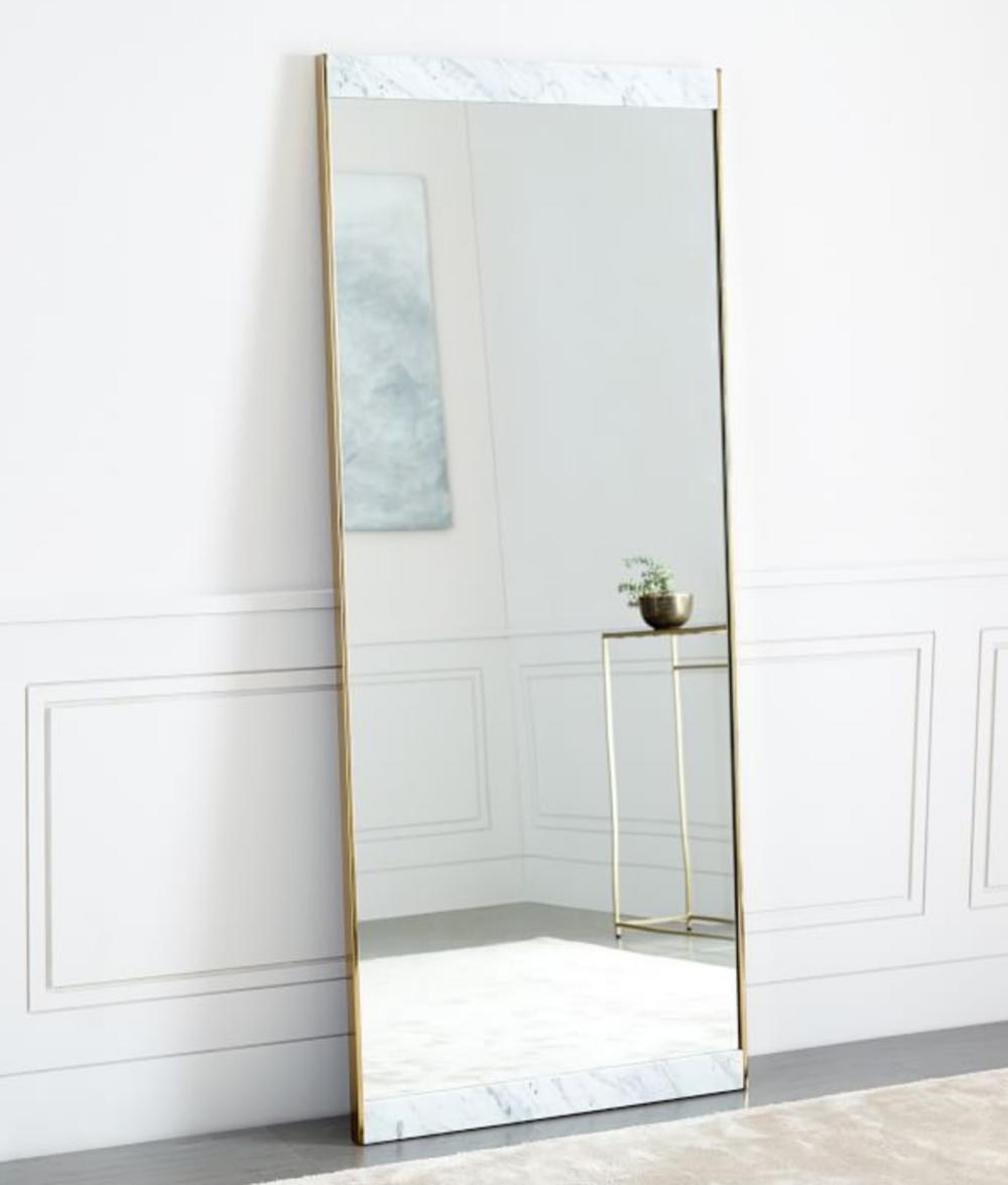 Marble & Brass Floor Mirror