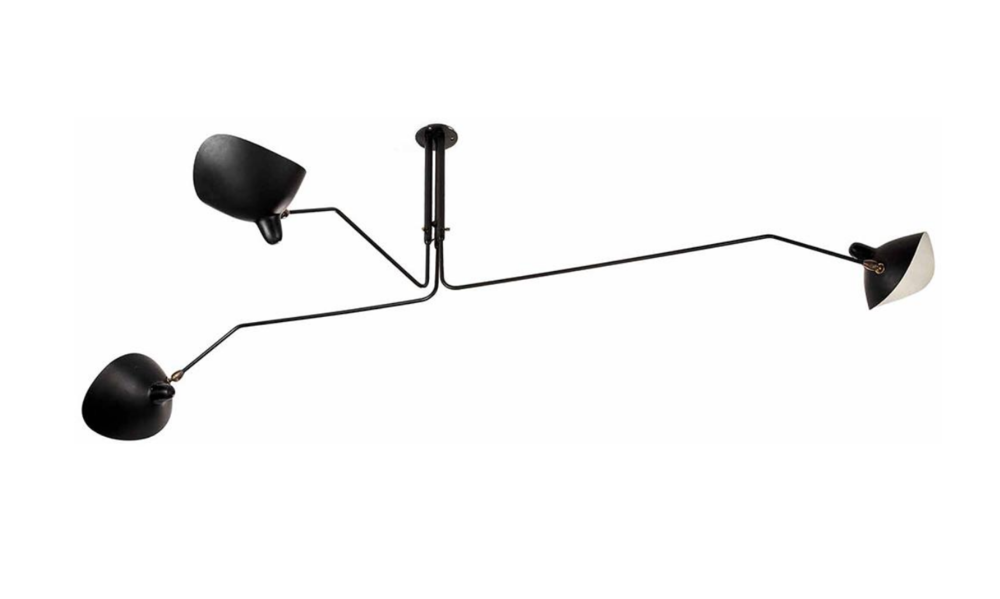 Serge Mouille 3 Arm Rotating Ceiling Lamp