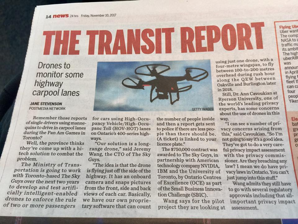 2017-11-10 Toronto_Sun_Transit_Report_Drones_to_monitor_some_Ontario_highway_carpool_lanes.jpg