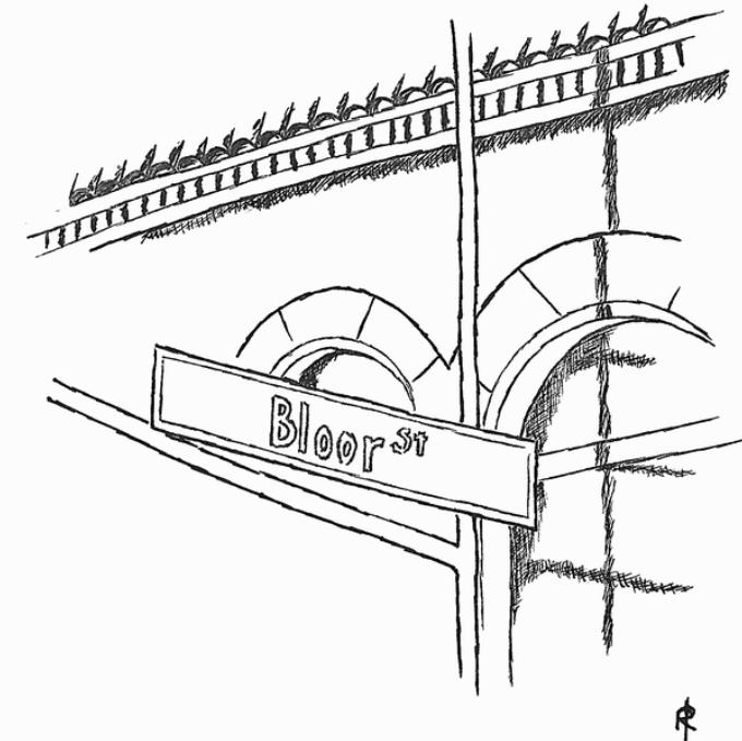 sketch of Bloor and Yonge street corner