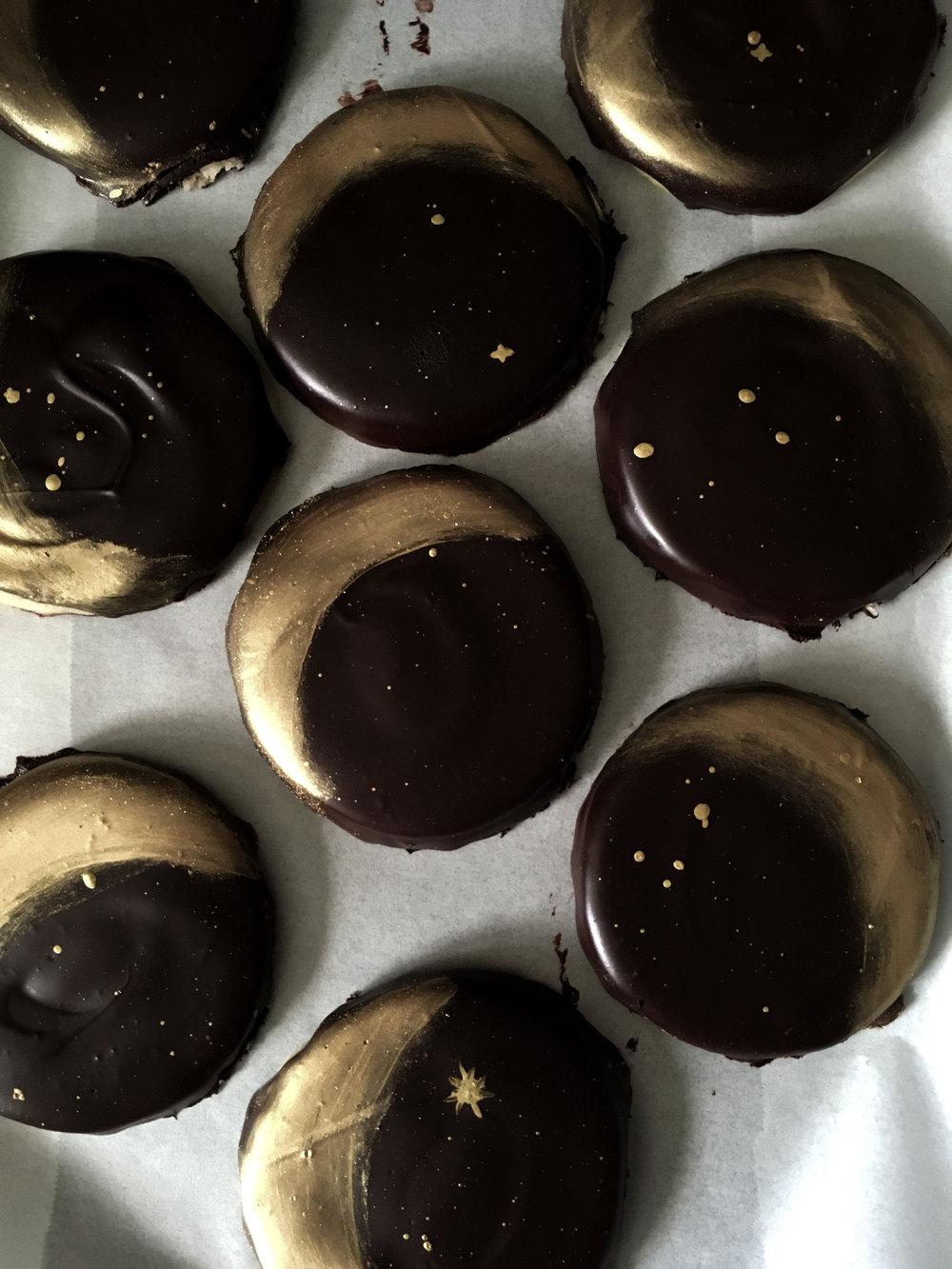 gold moons on dark chocolate