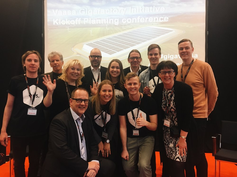 The GigaVaasa core team in the picture with Vaasa Entepreneur Society (VES) people. The core team from the left Mark Linder, Riitta Björkenheim, Tomas Häyry, Jukka Hakala, Panu Laturi, Ulla Mäki-Lohiluoma and Toni Laturi. Missing from the picture: Anna-Kaisa Valkama. The GigaVaasa core team is working towards bringing the Tesla Gigafactory 2 to Vaasa, Finland. The team is cooperating with the plenty of companies, universities, public entities and volunteers around the Finland, and even worldwide.