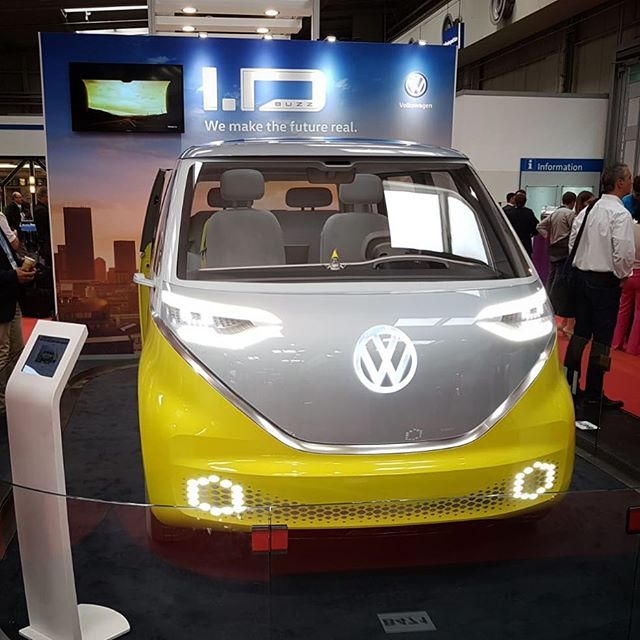Volkswagen was exhibiting their electric kleinbus, Buzz, at the Battery Show in Hanover.