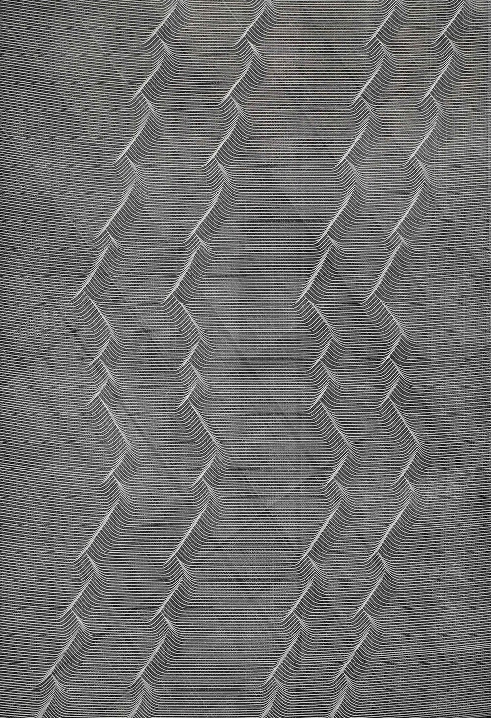 Long Ending (2016)  Scratches and Casein Paint on Gesso Panel  56 x 42 cm