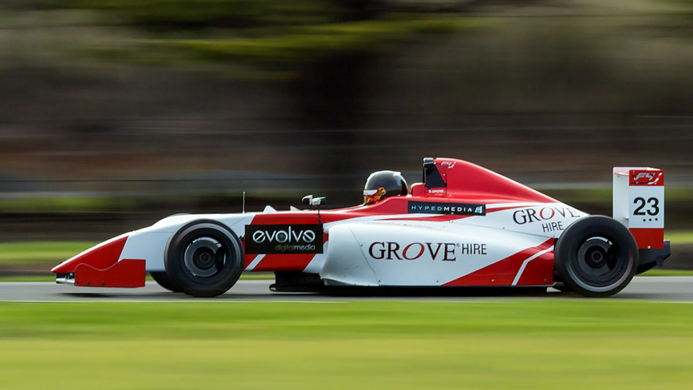 Brenton Grove is seen in his F4 machine