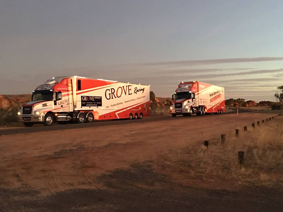 The Grove Racing and Porsche Centre Melbourne Motorsport team trucks on their voyage north across the Australian outback to Darwin during the week.