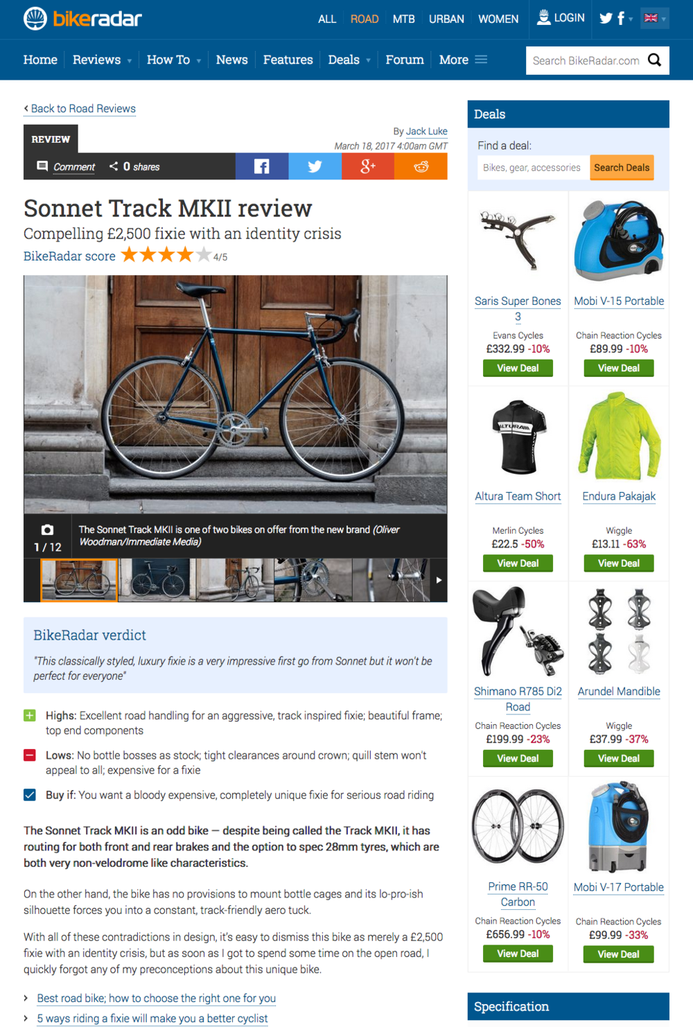 Bike Radar: Sonnet MkII Track bike reviewed in the Road bike section, March 18th, 2017  http://bit.ly/2nCWKyH