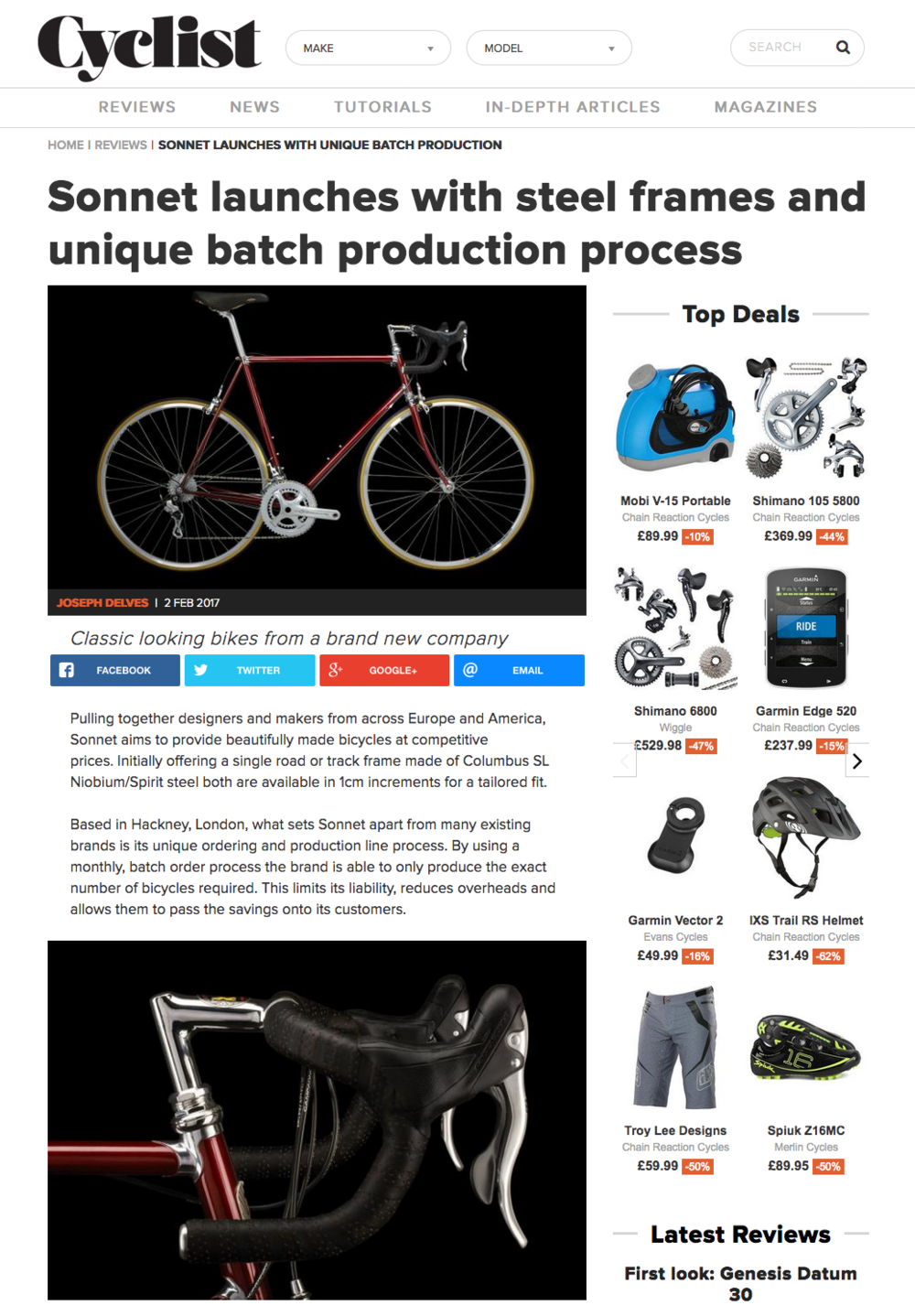 Cyclist Magazine, Review section, February 2nd, 2017  http://bit.ly/2rmiOzv