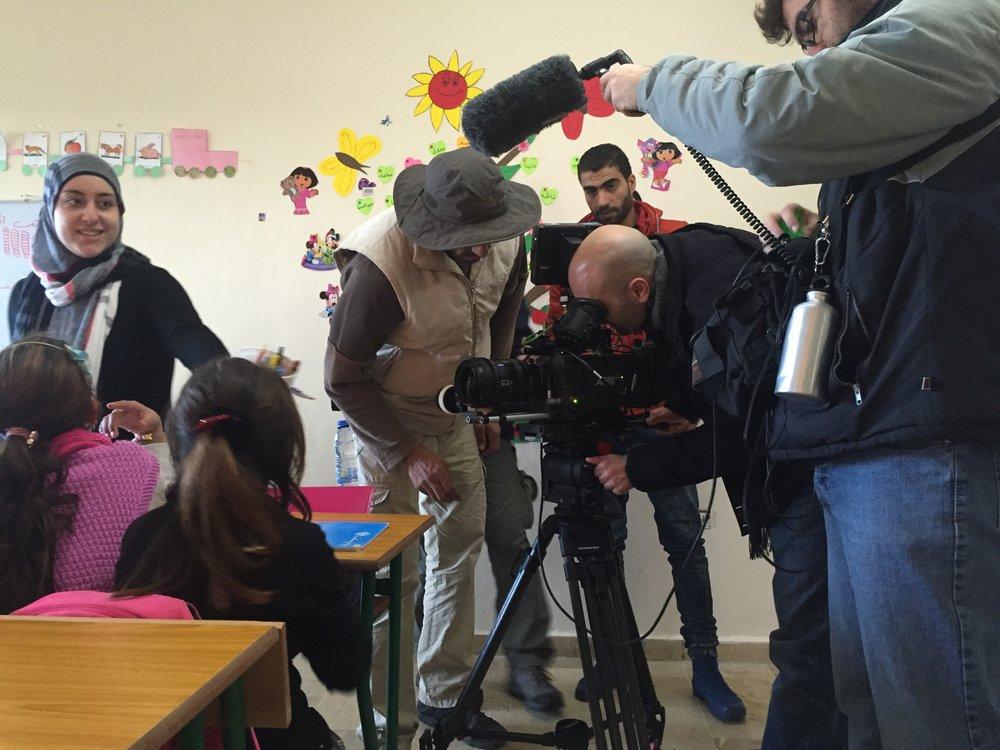 Filmaufnahmen über Swiss4Syria mit Regisseur  Pierre Aboujaoude