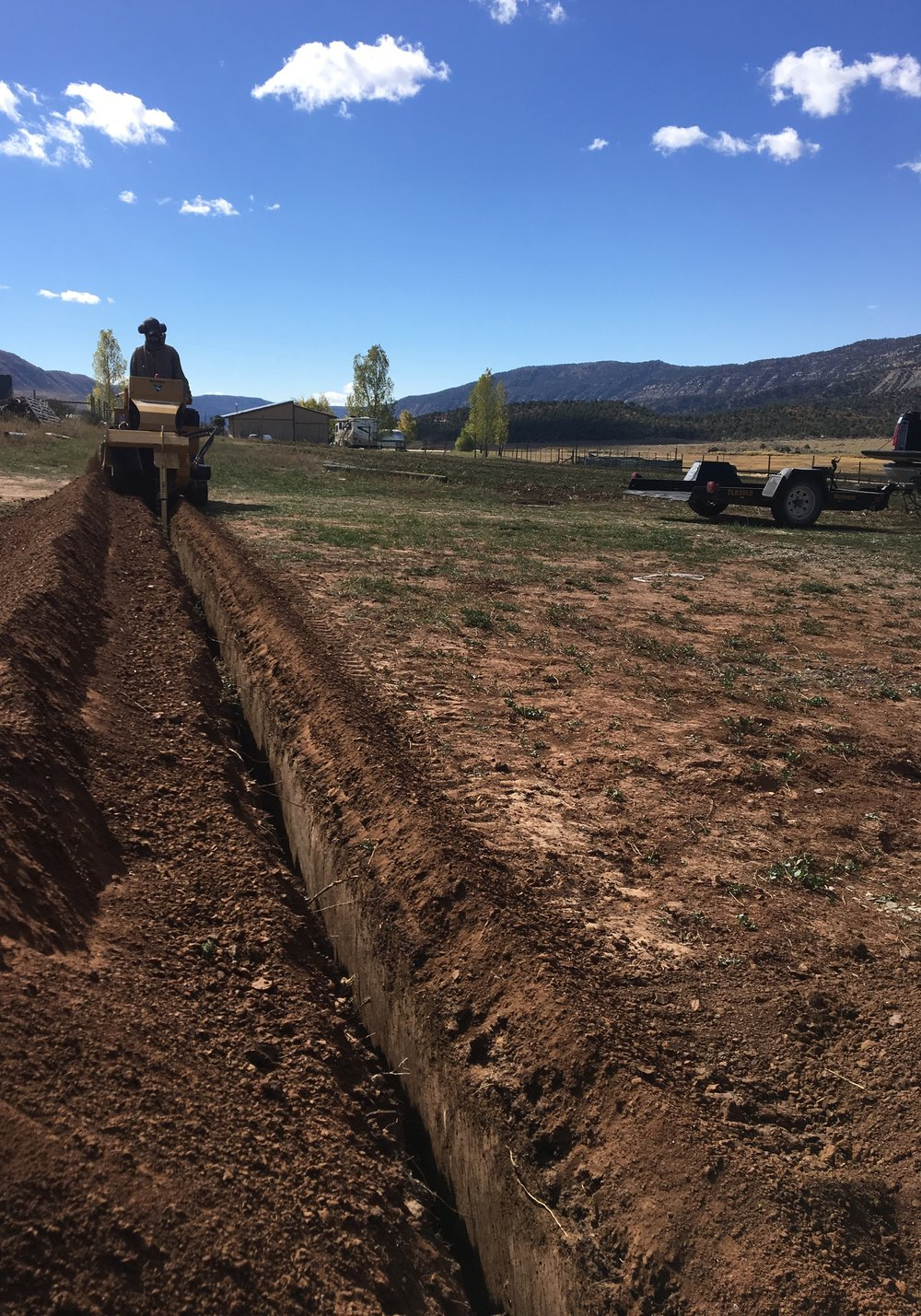 Trenching for the electric line