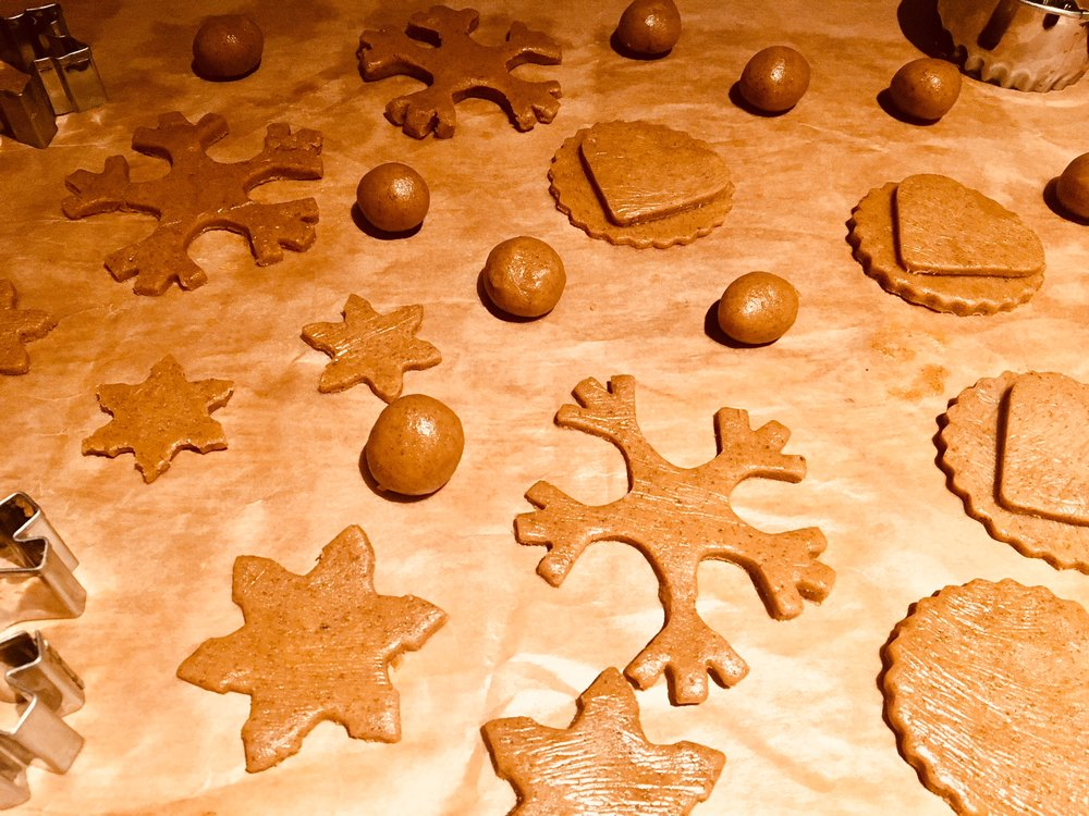 7. Using cookie cutters, cut out different shapes.  8. Place on baking paper and bake at 180°C for 12 minutes.