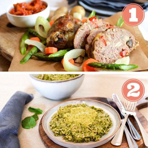 """- Repas 1 : Pain de viande, pommes de terre, mix de légumes et sauce tomates 4,4 étoiles sur 5Repas 2 : Risotto d'Orzo, petits pois et épinards 3,5 étoiles sur 5Commentaires Clients:""""Parfait au niveau des quantités"""" (Severine)""""Top!"""" (Els)""""Risotto un peu fade et sec"""" (Karine)""""Un léger ajout de crème liquide et parmesan était nécessaire"""" (Magali)"""