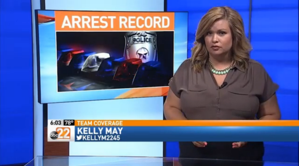 This, and all other screenshots, from the  ABC22 newscast .