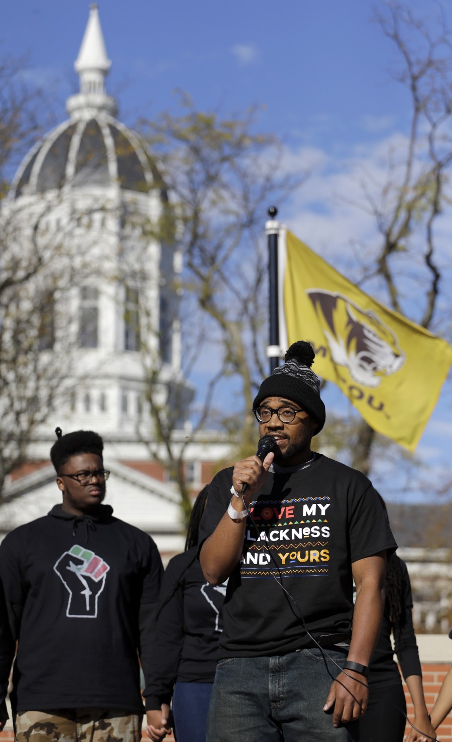 Jonathan Butler addresses a crowd on Nov. 9, 2015, at the University of Missouri. Photo: Jeff Roberson / AP