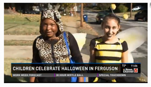 A screenshot from a local NBC affiliate's report on Frguson's early Halloween.