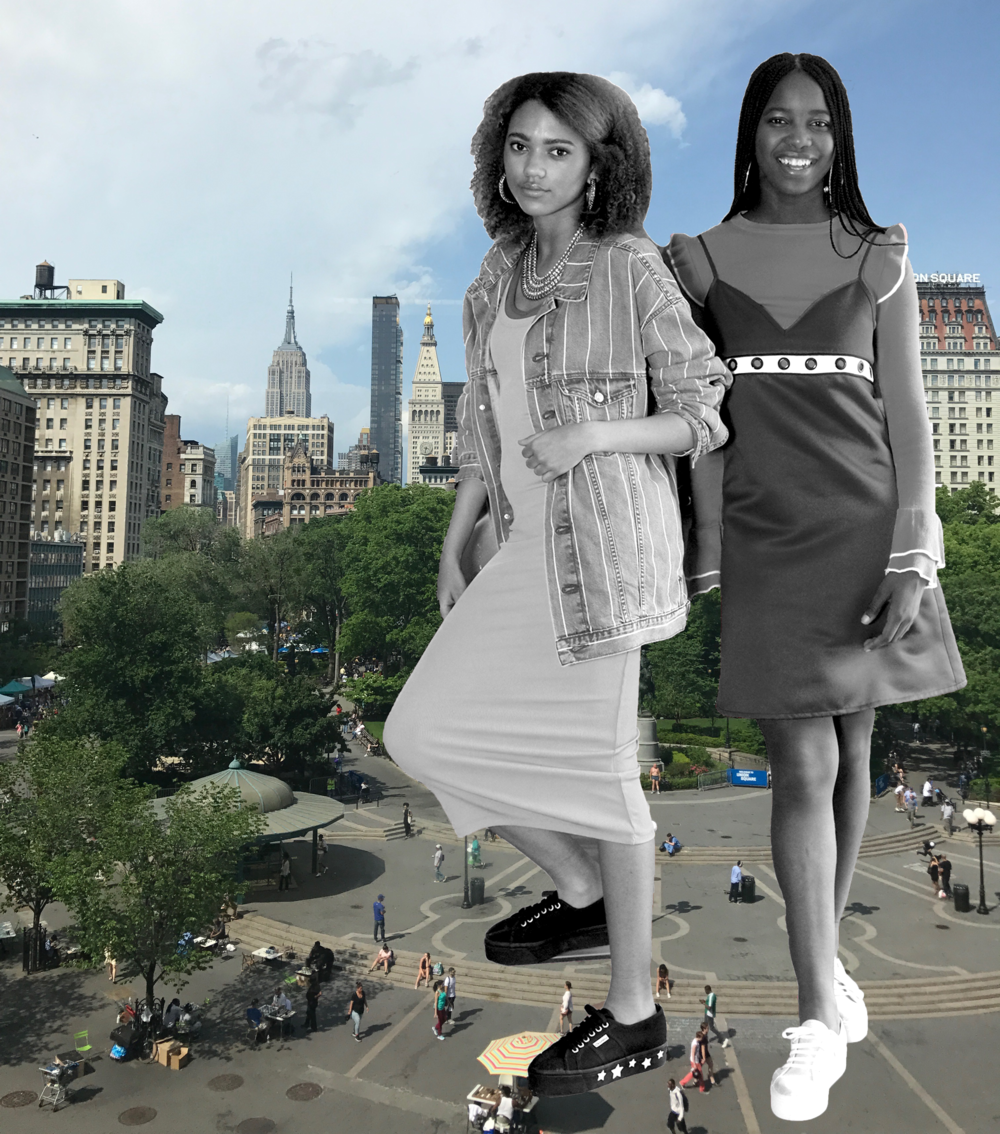 Kayla  wears  Tory Sport  bra,  H&M  jacket and dress,  Superga  shoes and  RJ Graziano  jewelry. Aicha wears Topshop sweater, I Waited For You dress, RJ Graziano jewelry and Superga shoes.