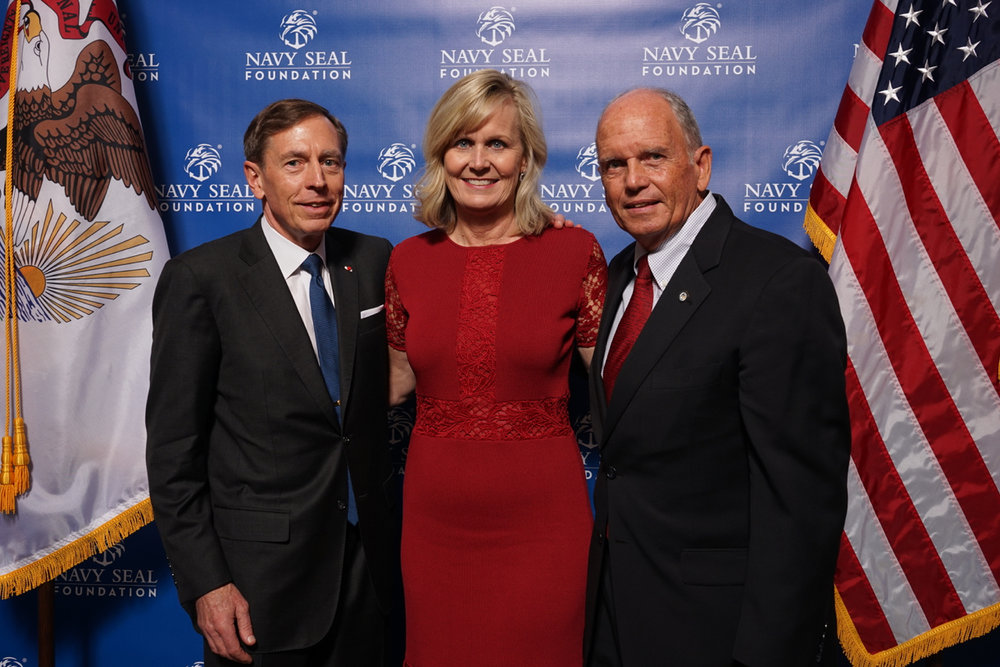 Left to right General (Ret) David H. Petraeus, CEO of the Navy SEAL Foundation Robin King, Rear Admiral (Ret) Garry Bonelli. Photos Navy SEAL Foundation.