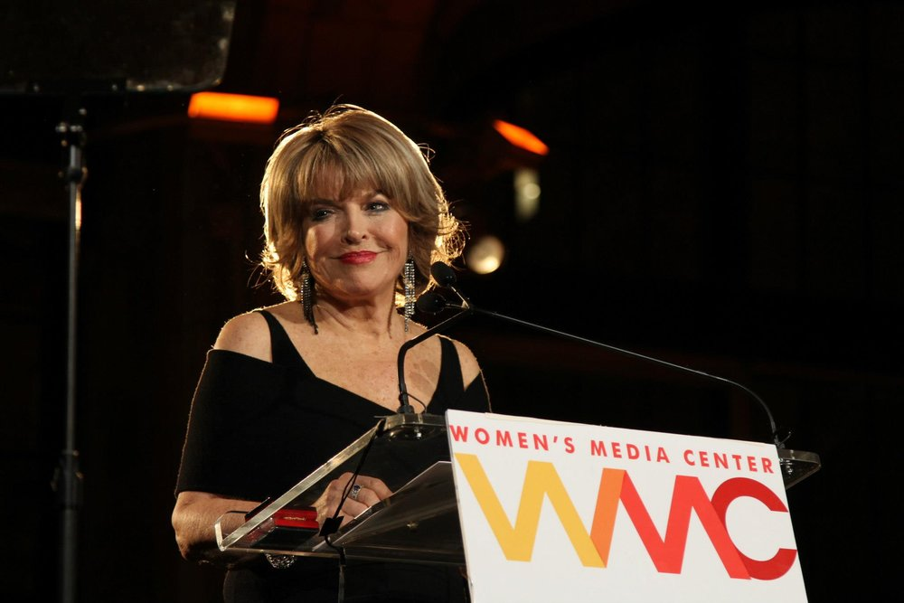 Mitchell receiving the Lifetime Achievement Award from the Women's Media Center in 2012. Photo courtesy of Pat Mitchell.
