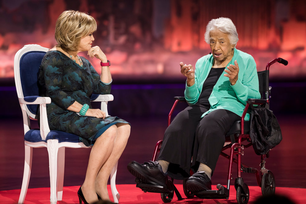 Mitchell and Leah Chase speak at TEDWomen, 2017. Photo courtesy of Stacie McChesney / TED