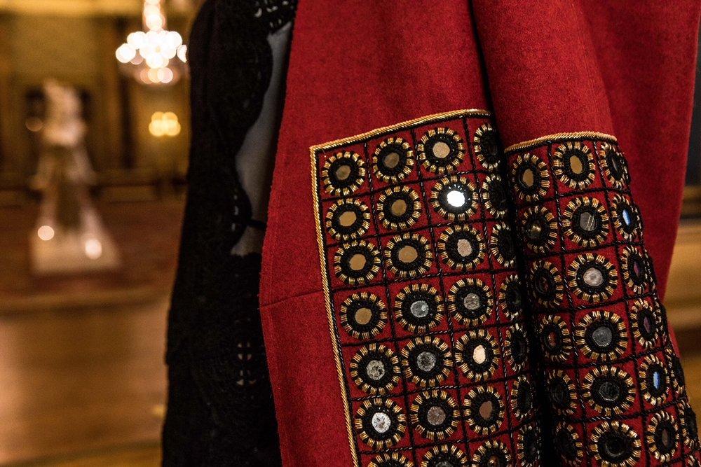Details of Artisan Shisha Work and Zardozi on behno's Woolmark certified eveningwear overcoat. Photo by Sean Ebsworth Barnes