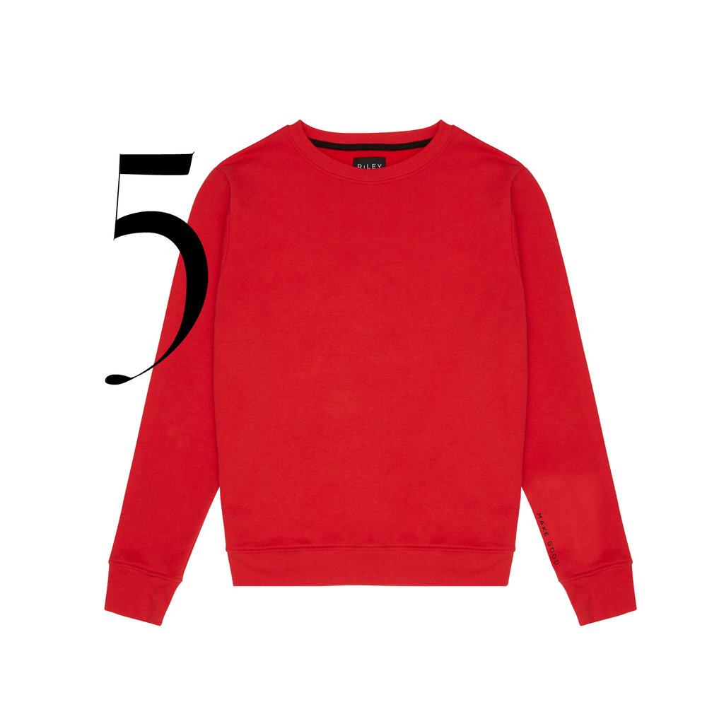 "Riley - Made from up-cycled waste materials and natural fabrics. A gender neutral brand that believes in equality. Riley Studio has partnered with Human Rights Watch.Classic Sweatshirt ""Make Good"" in red $89.00."