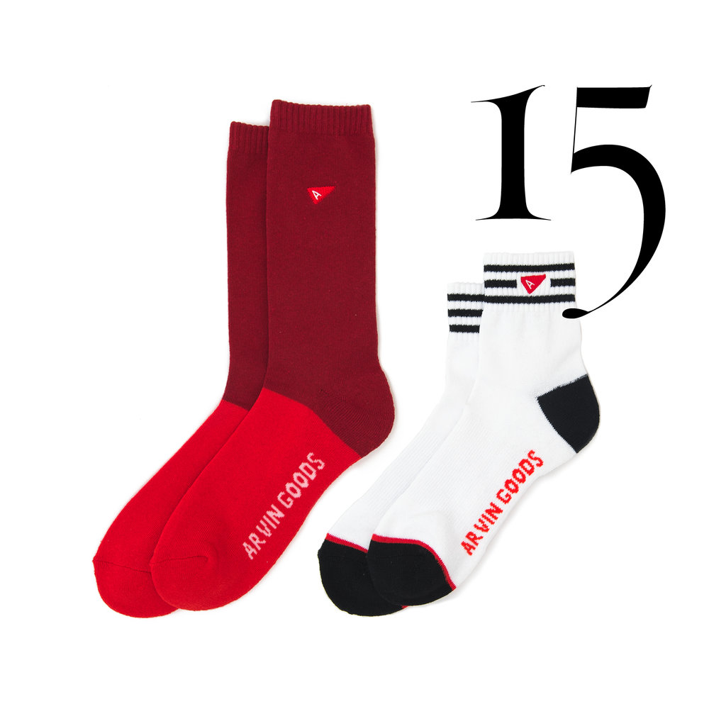 Arvin GOODS - Arvin takes unused old fabric and created an underwear company that do not use water or toxic dyes for each fresh pair. Made from 100% donated/upcycled materials.Men's Casual Sock Red $12.00Men's Crew Sock - White $10.00