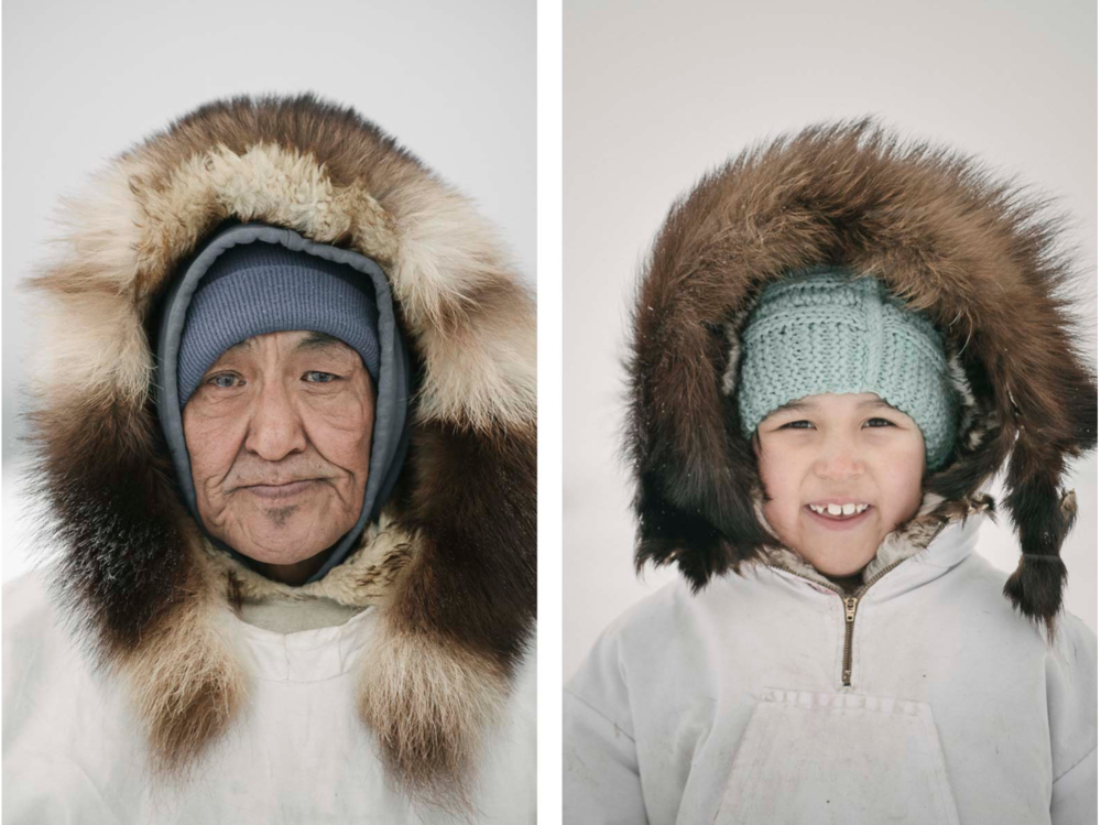 On the left, Raleigh Kowunna, an Iñupiaq elder, wears his traditional ice camouflauge parka. On the right, Siana Reich, daughter of whaling captain Inugurak Reich.