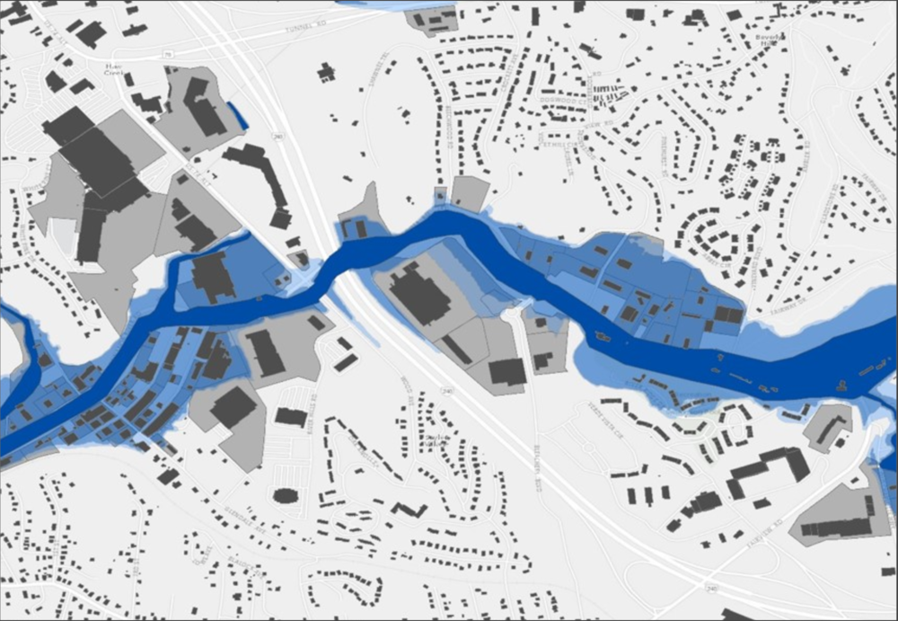 Local-scale exposure geo-analytics for commercial sector flooding