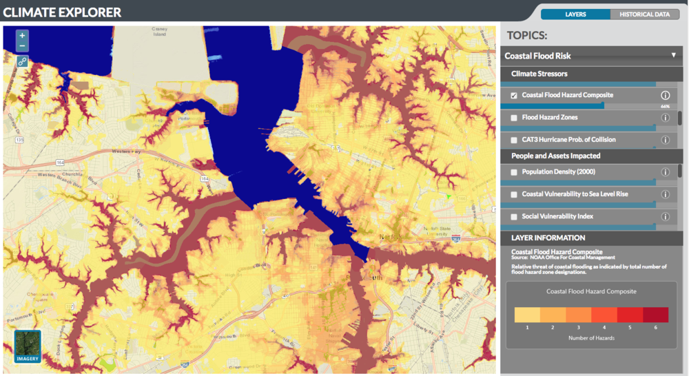 Screenshot of the legacy Climate Explorer developed by the NEMAC-FernLeaf Collaborative team.