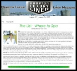 The List: Where to Spa   Hampton Luxury Liner Magazine August 13-26, 2009