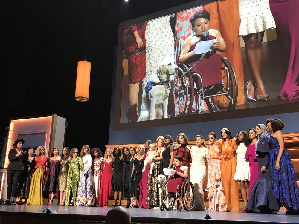 Women's March on Stage accepting Glamour Women of the Year Award, 2017