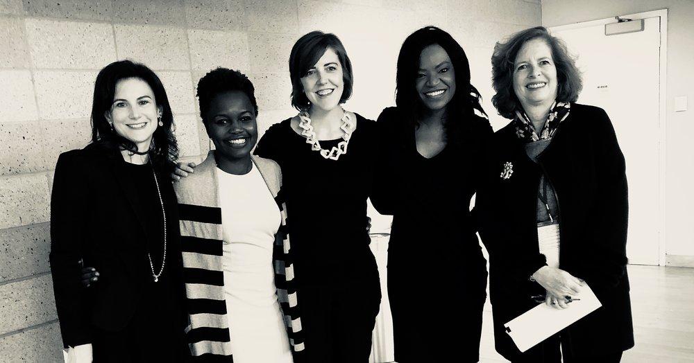 Hannah Rosenzweig, Karine Jean-Pierre, Brette McSweeney, Athena Jones, Dean Merit of Columbia's SIPA