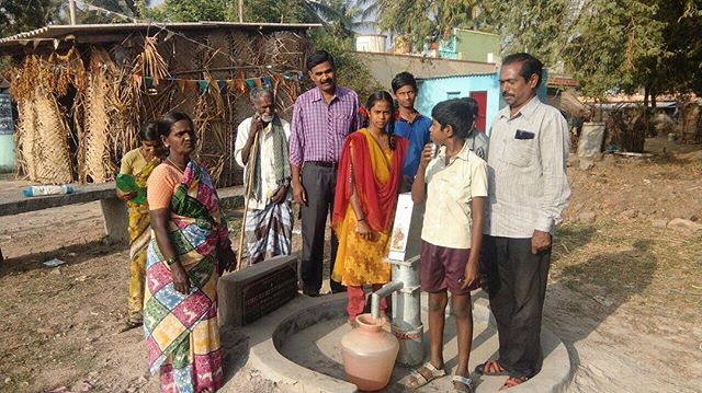 Rajeshwari (on the left in the colorful sari) knows first-hand how deadly dirty water can be. A few years ago, she lost her only son due to complications from drinking dirty water, and has longed for access to clean water ever since. This spring, thanks to the incredible generosity of Perez & Morris LLC, our partner in India was able to install a clean water well in Rajeshwari's village, so now she will have constant access to the clean water she needs!