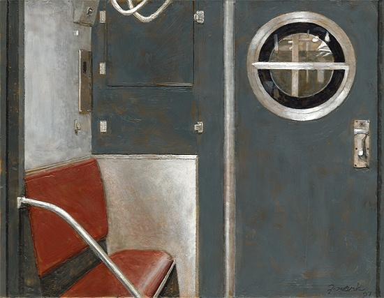 "Subway Interior, encaustic wax on wood panel, 14"" x 18"", 2007"