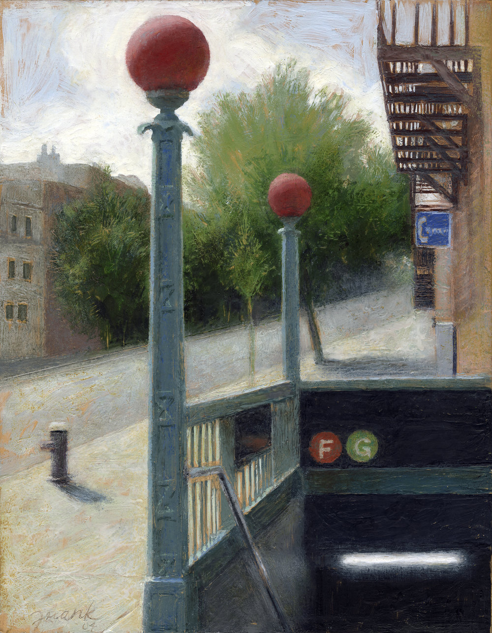 Subway Entrance, encaustic wax on wood panel, 2004