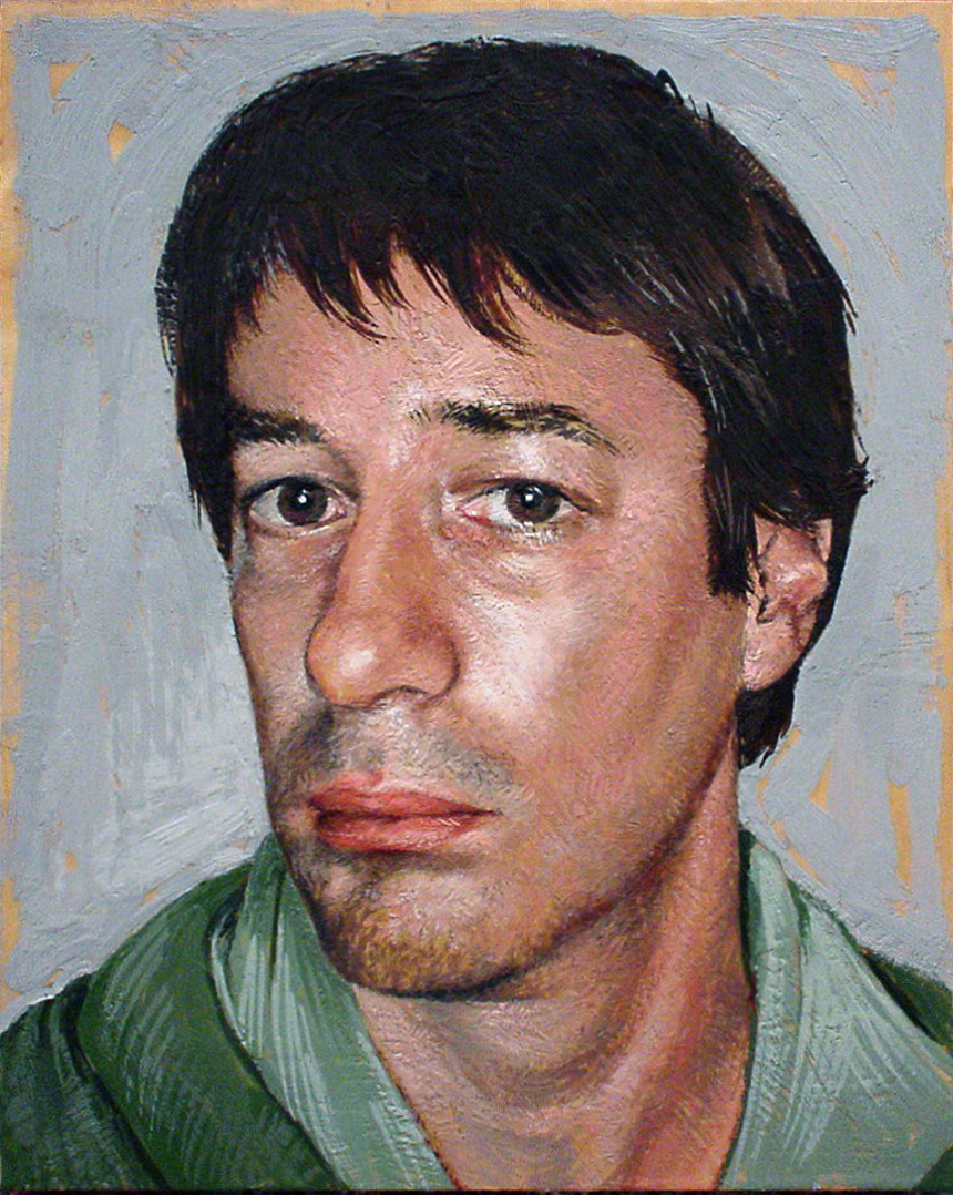 "Self-portrait, encaustic beeswax on wood panel, 14""x11"", 1999"