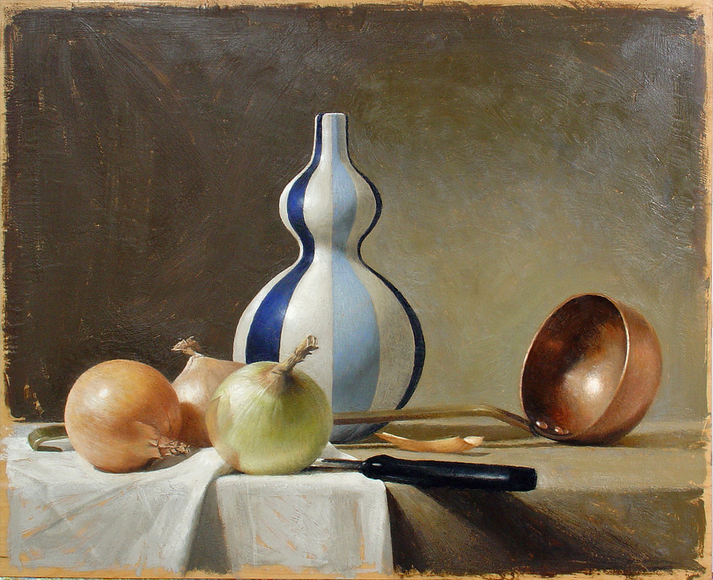 """Still Life with Blue and White Vase, encaustic wax on wood panel, 16"""" x 20"""", 2003"""
