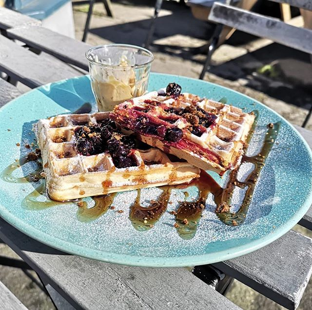 Pancake Tuesday special: Belgian waffles, served with berry compote, maple butter and praline crumb #pancakeday #pancakes #belgianwaffle #waffles
