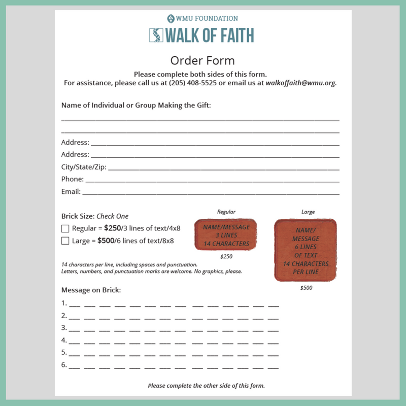 Walk of Faith Order Form