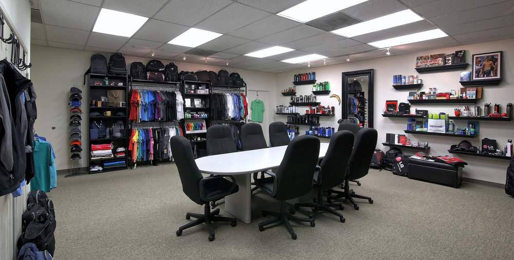 Showroom, Custom T-Shirts, Custom Apparel, Promotional Products, Custom Bags, San Diego Facility